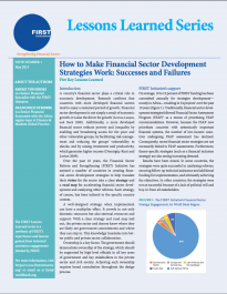 Lessons Learned - How to Make Financial Sector Development Strategies Work: Successes and Failures